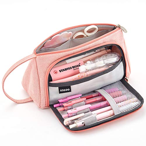 EASTHILL Large Capacity Pencil Case Multi-slot Pen Bag Pouch Holder For Middle High School Office College Girl Adult Simple Storage Case Pink