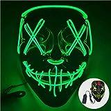 ShallWe Mascarilla LED con efecto horror y brillo para fiestas de disfraces, color verde...
