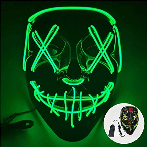 ShallWe LED Grimace Horror Glowing Mask Party Mask, Cold Light Ghost Walk Holiday Party Mask, Halloween Role Dress Up Cool Mask (Verde)
