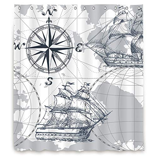 CICIDI Duschvorhang mit nautischem Segelboot, Landkarte, grau, Boot, Skizze, Schiff, Rad, Kompass, Anker, Dekor, Stoff, Polyester, wasserdicht, 183 x 183 cm, 12 Stück Kunststoffhaken, 183 x 183 cm