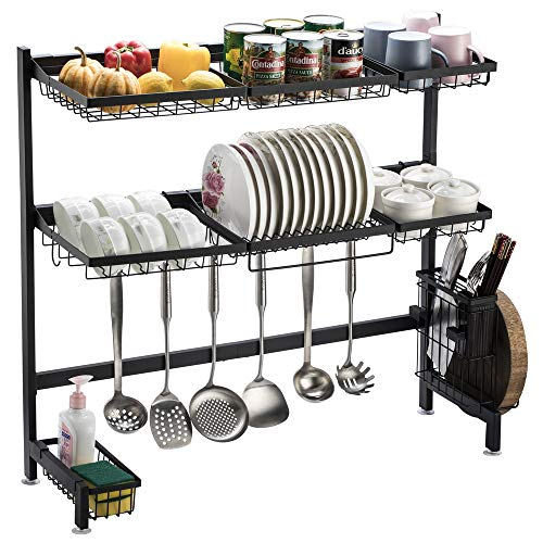 Bonnlo Over Sink Dish Drying Rack, 1/ 2 Tier Heavy Duty Stainless Steel Anti-Rust Above Sink Shelf Dish Drainer w/ Utensil Holder for Kitchen Counter, Black (2 Tier - (95 x 28 x 80)cm)