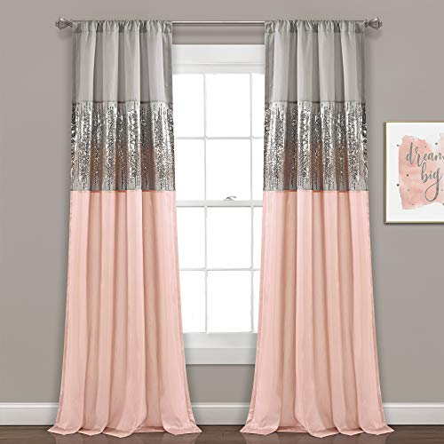 Lush Decor Gray and Blush Night Sky Panel for Living, Bedroom, Dining Room (Single Curtain), 84
