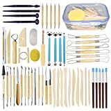 Augernis 57PCS Ceramic Clay Tools Set with Plastic Case Modeling Pottery Sculpting Tools K...