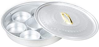 AYDA Aluminium Breakfast Serving Tray with Serving Plates or Dry Fruit Serving, Hammered design. (41 cm)