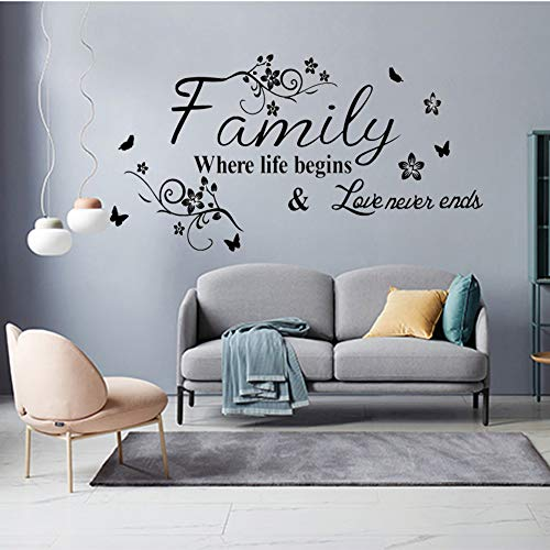 Wall Stickers for Bedroom and Living Room, Wall Sticker Warmly for Living Room Quote- Family Where Life Begins & Love Never Ends Art Wall Decal Hiata