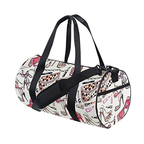 HARXISE Bolsa de Viaje,Zapatos Femeninos Accesorio de Perfume lipstic Artículos de Lujo para Imagen de patrón de Belleza,Bolsa de Deporte con Compartimento para Sports Gym Bag