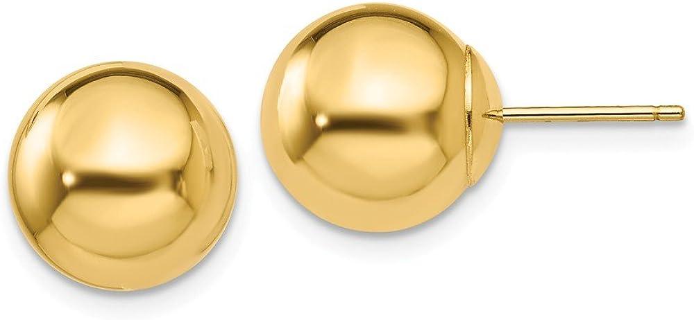 14k Yellow Gold Ball Stud Earrings (L-10 mm, W-10 mm)