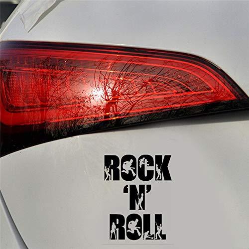 Pegatina para coche o portátil, 11 x 14 cm, diseño de Rock N Roll, color negro