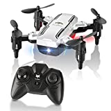 Foldable Mini Drone, H815 RC Drone LED Light Night Flying 2.4GHz 6-Axis Gyro Remote Control Quadcopter, One Key Return Helicopter RTF (Silver)