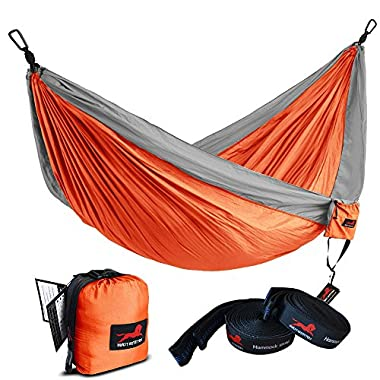 HONEST OUTFITTERS Single Camping Hammock With Hammock Tree Straps,Portable Parachute Nylon Hammock for Backpacking travel Orange/Grey 55  W x 108  L