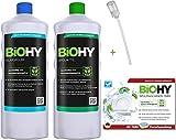 BiOHY Set di pulizia   Liquido di lavaggio bottiglia da 1 litro   Linguette per lavastoviglie 60 pezzi   Brillantante bottiglia da 1 litro   incluso il dosatore   (Reinigungs-Set)