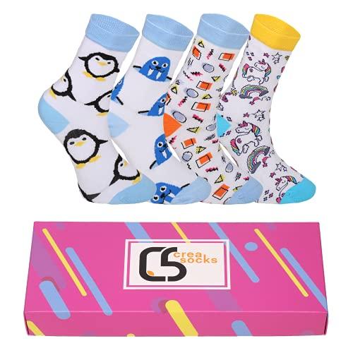 CREA SOCKS Calcetines divertidos para mujer, calcetines de Navidad, calcetines de regalo, animales, S