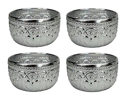 Thai Lot de 4 gobelets d'origine Argenté Env. Volume : 0,4 l - Bol en Verre
