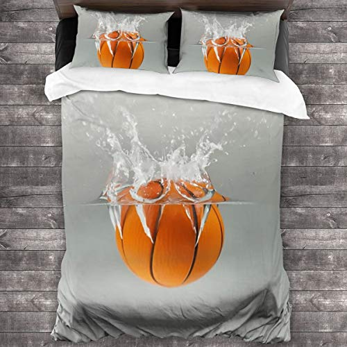 AUISS King Size Bedding Set Falling Basketball into Water Quilt Cover Bedroom Comforters Microfiber Sheet Two Pillowcase Durable Bedspread Coverlet Home Decorative