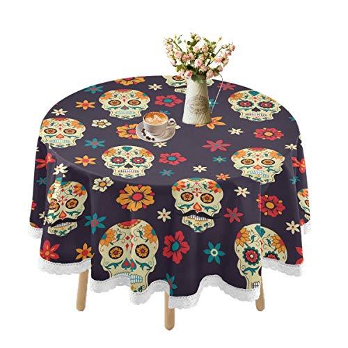Mantel impermeable para mesas redondas, diseño de calavera de azúcar, mantel de encaje para mesa de comedor al aire libre, para casa de campo, picnic, fiestas, cocina, vacaciones, 152 cm