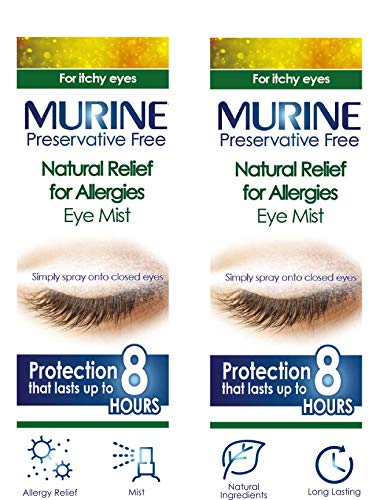 Twin Pack of Murine Natural Relief for Allergies Eye Mist Spray - 2 x 15 ml - Double Pack