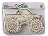 Playside Creations Color Your Own Wood Monster Trucks - 6 Ct