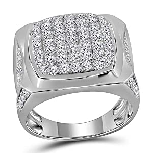 Diamond2Deal Herren-Ring 10 Karat (750) Weißgold Diamant quadratisch Cluster 2-7/8 Karat