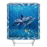 Minuya Meer Sea Haifisch Delphin Qualle Sonnenuntergang Mehrfarbig Wasserdicht Polyester Einfach Duschvorhänge Verdicken Anti-Schimmel Textilien für Badezimmer Familie Haus Wohnung Duschvorhang