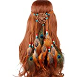 KINTRADE Bohemio Mujeres Dream Catcher Diadema Color Indio con Cuentas Artificial Pavo Real Pluma Ajustable Casco