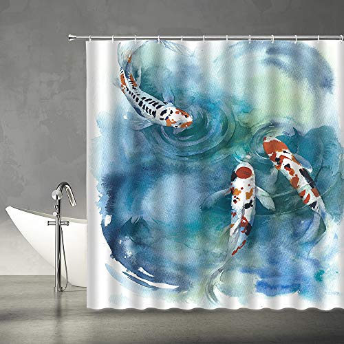 Koi Shower Curtain Japanese Symbol Koi in The Pond Colorful Carp Fish Watercolor Ink Painting Art Asian Fabric Bathroom Decor Set 70x70 Inches Include Hooks