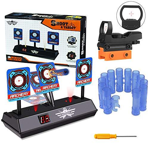 OFUN Digitales Zielscheibe für Nerf, Auto Reset Shooting Target + Zielfernrohr + Darts Armbänder für Nerf Guns N-Strike Elite/Mega/Rival-Serie, Kinderspielzeug mit Soundeffekte & Spiellicht