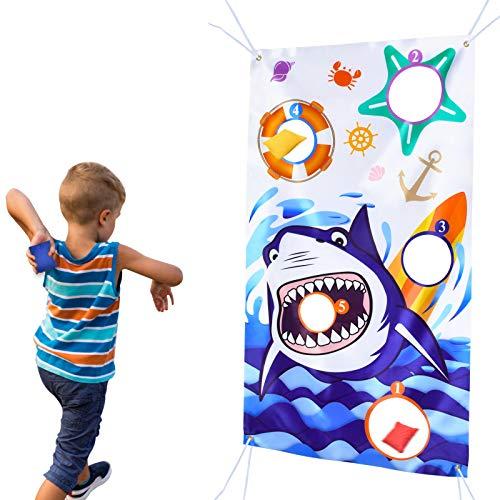 WERNNSAI Hai Wurfspiel Banner mit 3 Sitzsäcken - Hai Party Zubehör für Kinder Geburtstag Party Dekorationen unter dem Meer Ozean Thema Bean Bag Spiel Sets Indoor Outdoor Hof werfen Spiele, 140 x 76cm