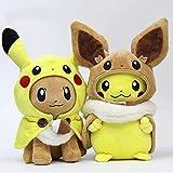 lhtczzb 2 Pièces / Ensemble Pokemon Jouets en Peluche Pikachu Cosplay 30 Cm Eevee Peluche Poupées, Evoli avec Cape Cos Pikachu Jouet Enfants Cadeau