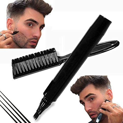 Dr.Cheol Bartfüller Stift Bleistift,Beard Filling Pen Kit,Beard Filler Pencil - 1 Pinsel Enthalten Langlebige Abdeckung & Natürlicher Abgang Bart, Schnurrbart & Augenbrauen, Wasserdicht (Black)