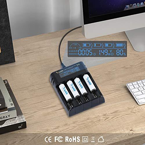 Snado Caricabatterie per Pile Ricaricabili Per AA/AAA, Con Intelligent Display LCD Ricarica miste or singolo with 6 slots (Batterie non incluse) Certificazione di Sicurezza: UL, CE, TUV
