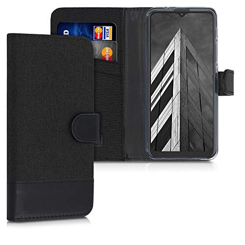 kwmobile Wallet Hülle kompatibel mit Motorola Moto G9 Play/Moto E7 Plus - Hülle mit Ständer - Handyhülle Kartenfächer Anthrazit Schwarz