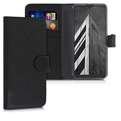kwmobile Custodia Compatibile con Motorola Moto G9 Play/Moto E7 Plus - Cover a Portafoglio Porta Carte Tessuto Simil Pelle Stand - Case Magnetica