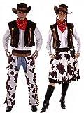 Couples Cowboy & Cowgirl Woody & Jessie Wild West Fancy Dress Outfits Plus Size & Standard (Ladies 10-14 & Mens STD)