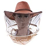 Qingsi 1 Pack Beekeeping Hat Beekeeper Cowboy Bee Net Veil Full Face Neck Cover Outdoor Mask Head Face Protector