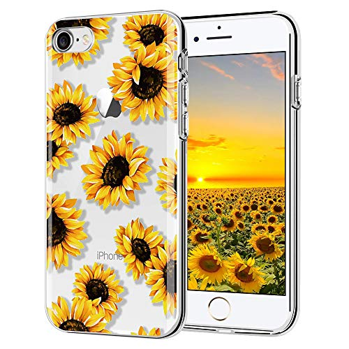 LYWHL iPhone 7 case, iPhone 8 case, AIKIN Simply Designed Flower Pattern Case Soft TPU Flexible Case Shockproof Protective Cute Case for iPhone 7,iPhone 8 (Sunflower/Clear)