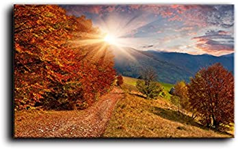 """Large Wall Art Golden Forest in Sun Light Print Landscape Painting Canvas Artwork For Living Room Autumn Colors for Fall Weddings & Parties Décor Oil Paint For Home Framed Ready To Hang (30""""Hx40""""W)"""