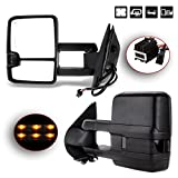 SCITOO Towing Mirrors Automotive Exterior Mirrors for Chevy GMC 2007-2014 Silverado/Sierra Pair Rear View Mirrors with Power Control Heated Turn Signal Backup Light Manual Telescoping Folding