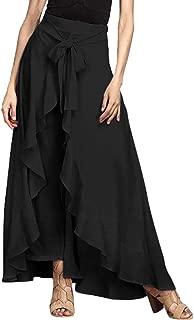 Women Casual Ruffle Palazzo Long Pants Split High Waist Pleated Maxi Skirt
