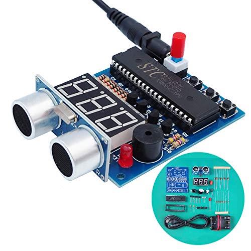 VOGURTIME Ultrasonic Ranging Alarm Soldering Electronics Kit with HC-SR04 Ultrasonic Sensor Module for Learning Practicing