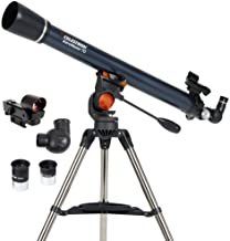 Celestron - AstroMaster 70AZ Telescope - Refractor Telescope - Fully Coated Glass Optics - Adjustable Height Tripod – BONU...