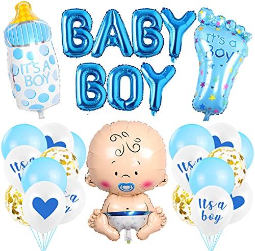 O-Kinee Babyparty Deko, Baby Shower Junge Deko Blau, Babydusche Dekorations - It's a Boy Girlande, Neugeborene Folienballoon, Fotorequisiten Masken, Ballons Blau, Tischdeko Streudeko