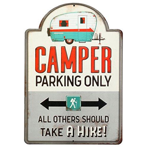 Retro Camper Parking Only Vintage Tin Metal Wall Art Sign