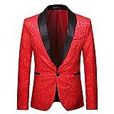 Tefamore Trajes Hombre Chaquetas Americanas Charm Casual Un Botón Fit Suit Traje Blazer Abrigo Abrigo de Fiesta de Lentejuelas Chaqueta (Rojo 02, L)