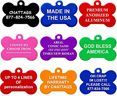 Dog Tags Pet Tags Engraved | 11 Shapes | 8 Colors | by CNATTAGS® (LIFE TIME WARRANTY)