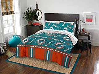 Miami Dolphins NFL Full Comforter & Sheets, 5 Piece NFL Bedding, New
