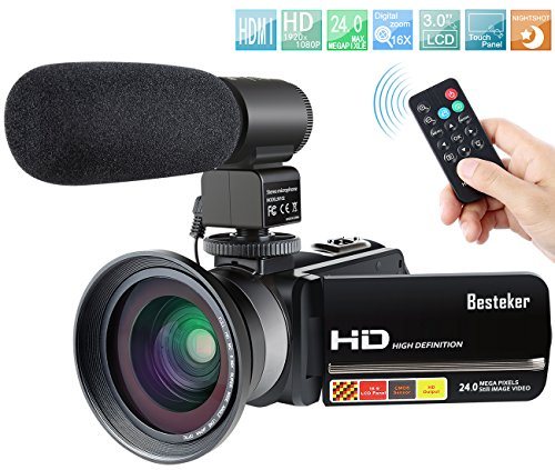Camcorder,Besteker 1080P IR Night Vision Camcorders Full HD Portable Digital Video Camera with...