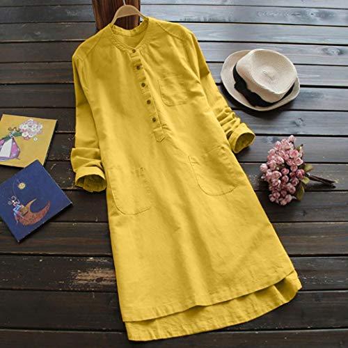 Xmiral Women Dress Vintage Long Sleeve Casual Loose Button Tops Blouse Midi Shirt Dress (XXL,Yellow)