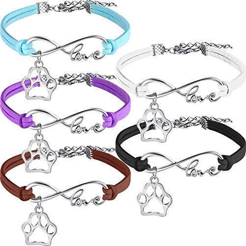 15 Pack Puppy Paw Print Paw Bracelets for Kids Adult Adjustable Charm Bangle Bracelets Puppy Dog Cat Animal Themed Party Favors (Brown, Blue, White, Purple, Black)