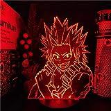 Regalos del día del padre de la hija regalo de los hombres Boku no Hero Academia Eijiro Kirishima 3D Phantom Light LED Luz de inducción Atmósfera Noche Luz Decoración del hogar Lampala ERJIE