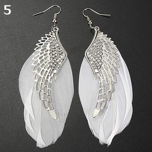 wsloftyGYd Earrings For Women, Angel Metal Wing Boho Handmade Vintage Feather Long Drop Dangle Hook Earrings White 11cm